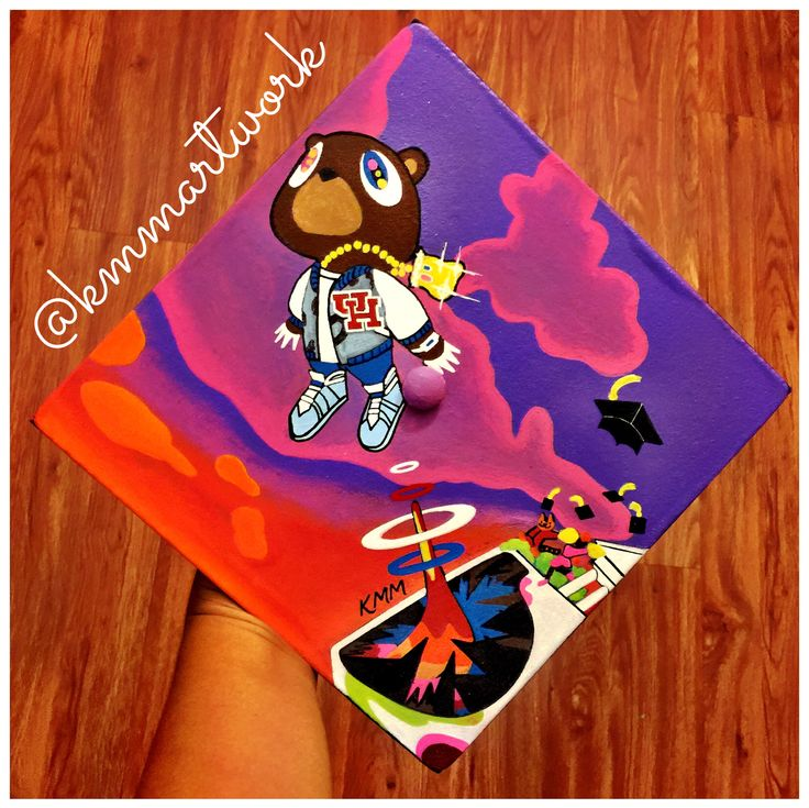 Graduation Cap - Kanye West Graduation Album Cover - University of Houston - KMM Artwork - Hand Painted