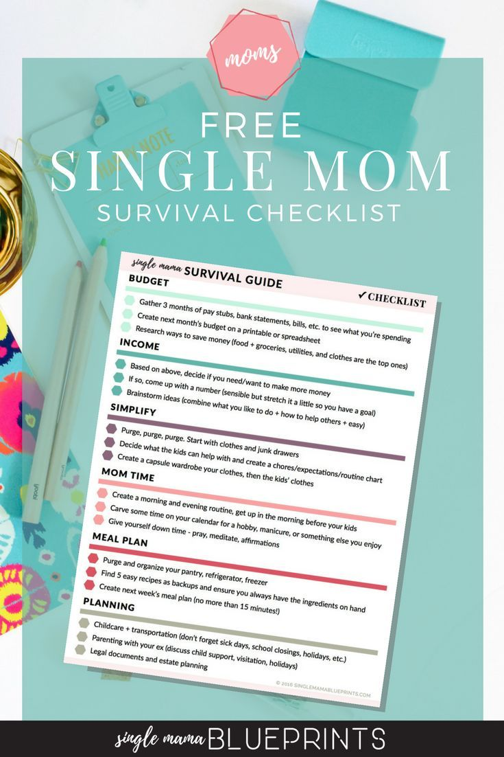 Free Survival Checklist for Single Moms! Organize things like your budget, childcare, meal planning, and important documents | Planner | Printable | Download | Time Management