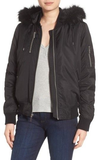 French Connection Women's 'Varsity' Hooded Bomber Jacket With Faux Fur Trim