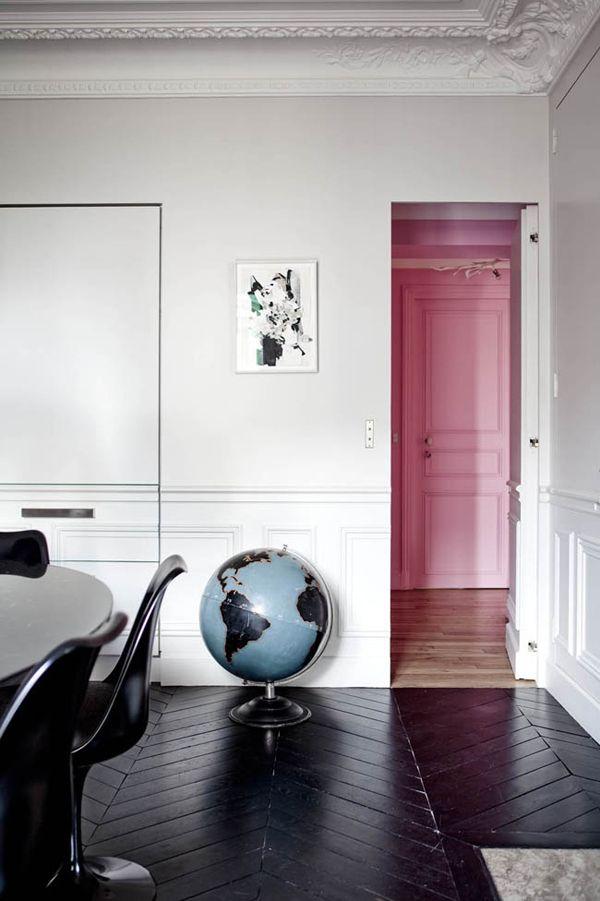 : Black Floors, Color, Pale Pink, Interiors Design, Wood Floors, Pink Wall, Herringbone Floors, White Wall, Pink Doors
