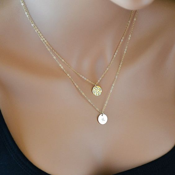 Double Strand Necklace, Layered Necklace, Gold Hammered Disc Necklace, Initial Necklace, Personalized, Monogram