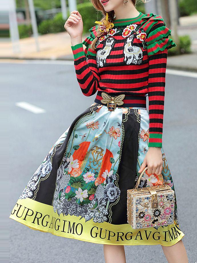 Top a rayas de volantes con falda estampada - multicolor-Spanish SheIn(Sheinside)