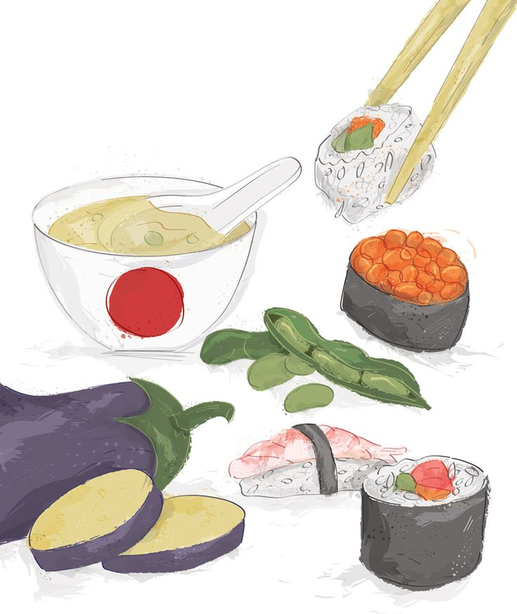 Japanese food illustration for Eat Healthy magazine by Louise Brigenshaw