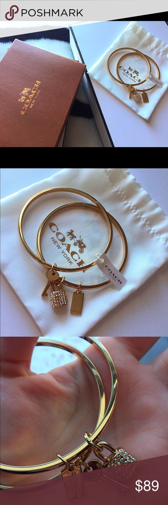 New coach bangle bracelet with key and charms This beautiful coach bracelet is brand new with tags. It is in perfect condition. It comes with its pouch and the original coach box & the care booklet. It is super cute and goes with everything ❤️ It can also be a gorgeous gift for someone special. The charms add a really nice touch. Coach Jewelry Bracelets