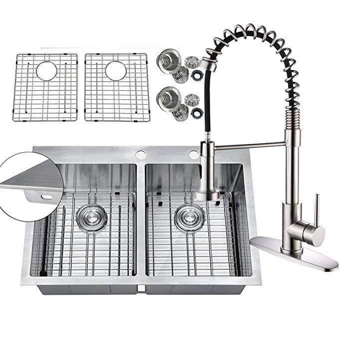 Primart Pht33dex Handmade 33 Inch 16 Gauge Topmount 50 50 Double Bowls Stainless Steel Kitchen Sink Drop In 9 Ga Extra Thick Deck W Bottom Grid Sink Strainer Pu