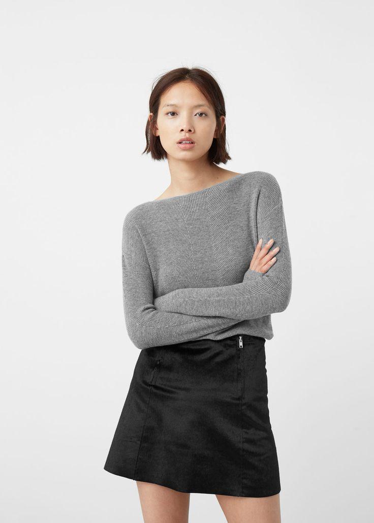 Wełniany sweter ściągaczowy ścieg   MANGO