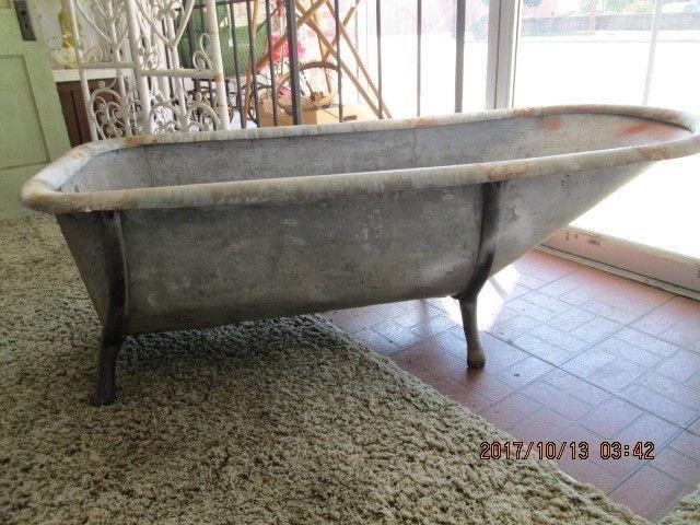 Antique GALVANIZED BATHTUB Cowboy Western Primitive Bath Tub LOCAL PICK UP  ONLY