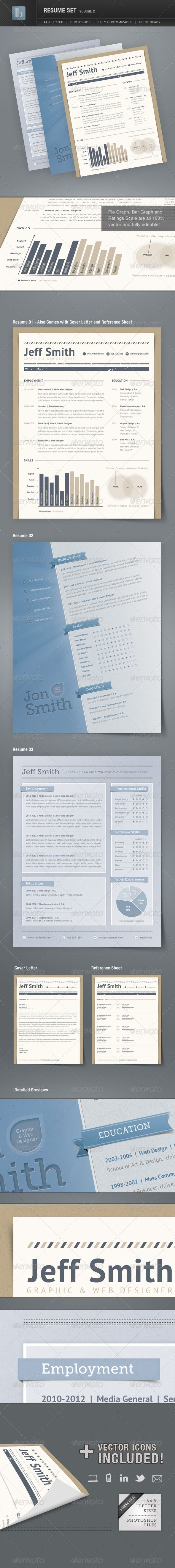 radio personality resume%0A Resume Set Volume   Get noticed with this stylish resume set   different  resume designs