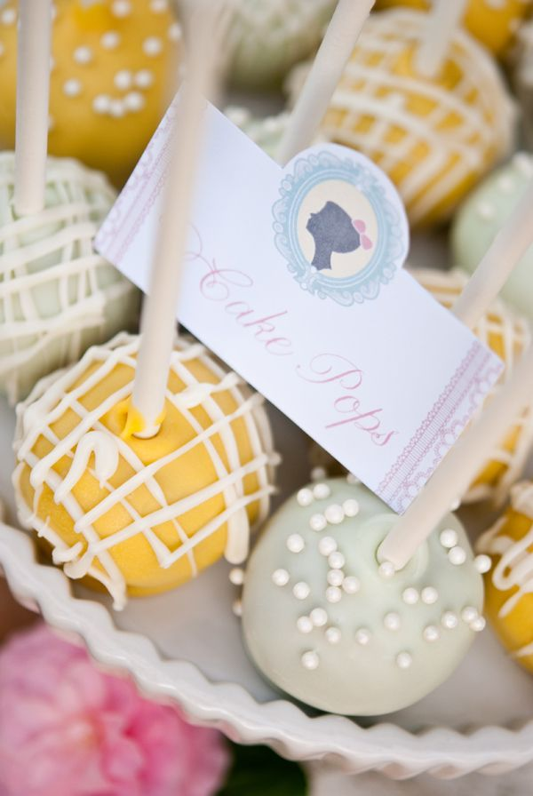 gray and yellow cake pops!