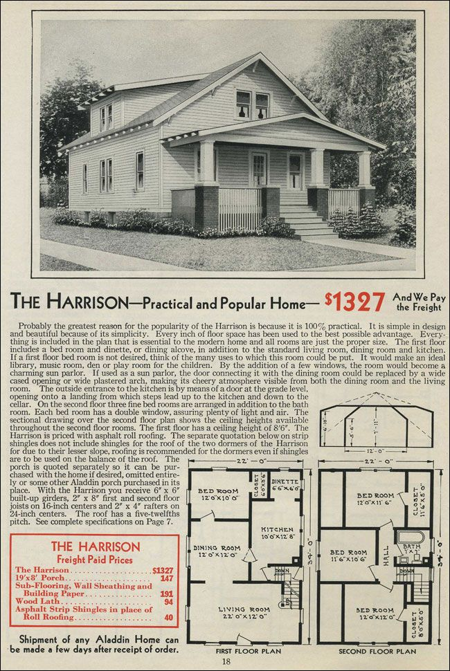 The Harrison Kit House Floor Plan Made By Aladdin Company In Bay City Michigan 1931 Vintage