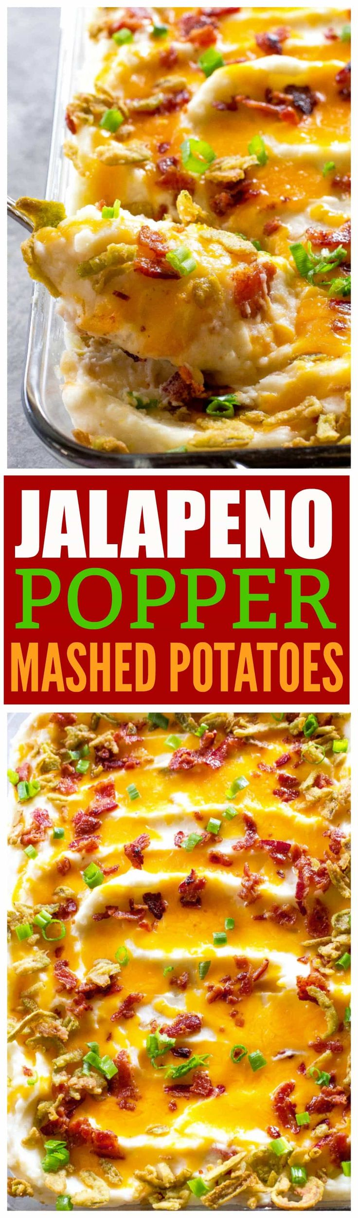 These Jalapeno Popper Mashed Potatoes are creamy mashed potatoes loaded with cheese, bacon, and crispy jalapenos. #ad These will take your Thanksgiving (or Friendsgiving) to the next level. the-girl-who-ate-everything.com