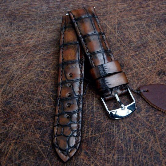 Dangerous9straps - Bill's newly completed Antique Tobacco Alligator for Omega Speedmaster