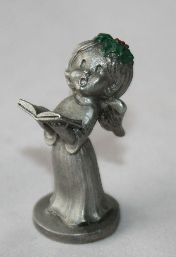 "Vtg Pewter Angel Figurine Miniature Christmas Carol 1 7/8"" Signed Numbered VGC"