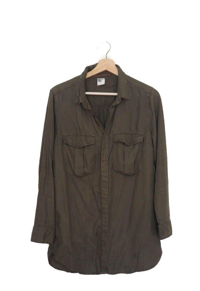 Camisa verde militar manga larga, H&M  Shirt, green, long sleeve, Autumn Winter