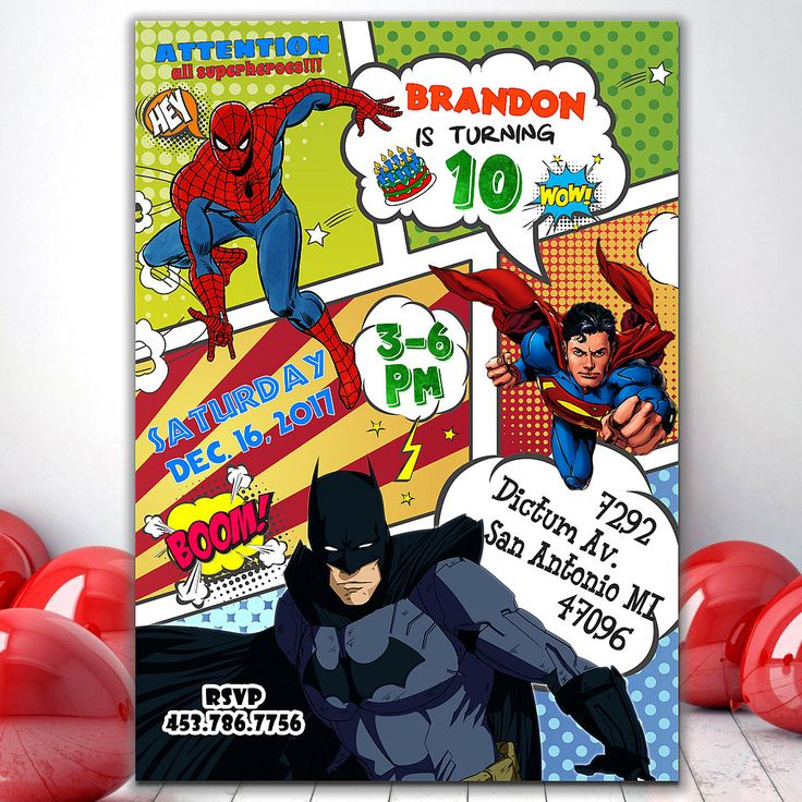 Super hero party invitations, Superhero invitation instant download, Marvel birthday invitations, Superhero invitation printable by PrintablesForEvents on Etsy