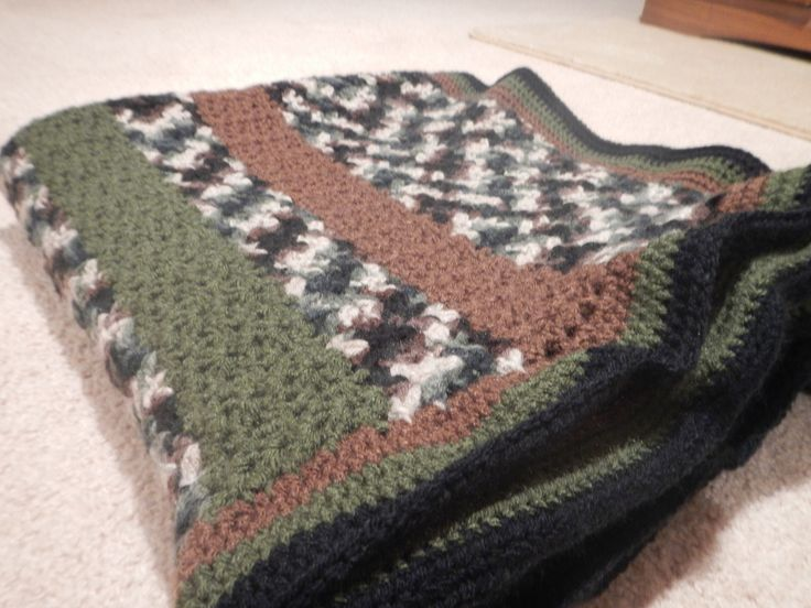 Homemade Crochet Camo Blanket