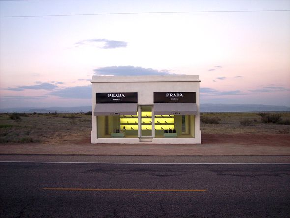 #ridecolorfully by the Marfa Prada, an art installation in West Texas