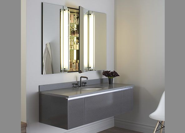 ganged m series mirrored cabinets and reflexion lights paired with a 60 - Robern Medicine Cabinet
