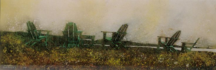 """the horizon 15  (fundy side) 10"""" x 30""""    micheal   zarowsky    watercolour on arches paper / private collection"""