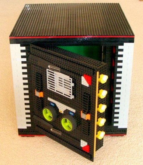 LEGO Safe - It actually works! With over 305 billion code combinations and equipped with an electronic display, motion sensitive alarm, and an automatic locking system! This thing is amazing!
