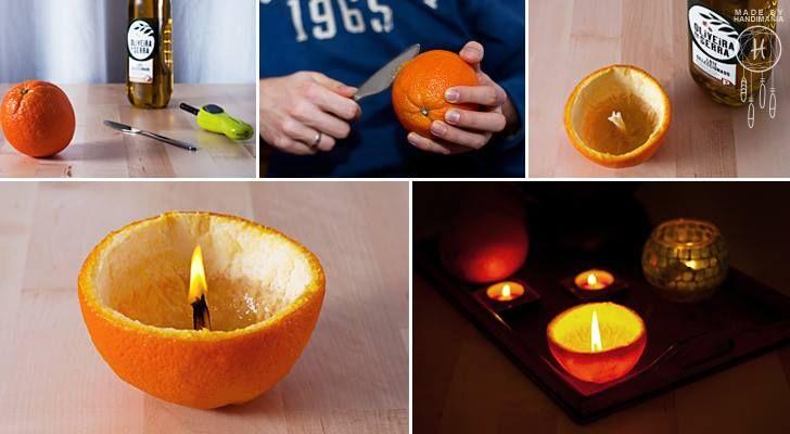 Maak een aromatische kaars van een sinaasappelschil (TIP!)
