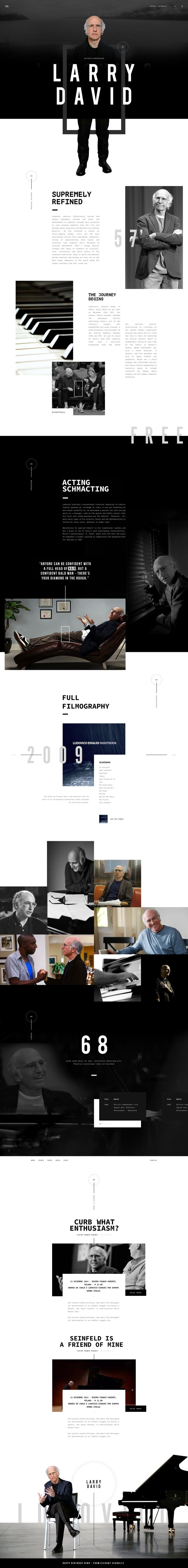 Larry David – BW biopic webpage design and Ui concept by Elegant Seagulls