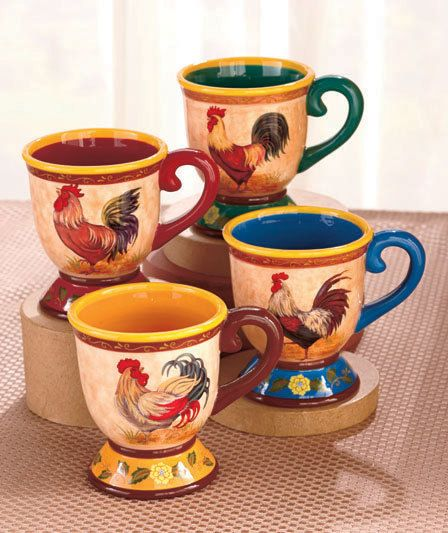 Coffee Tea Drinks Country Kitchen Rooster Dinnerware