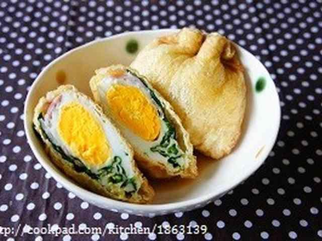 朝食にも◎ほうれん草&ベーコンエッグ巾着の画像