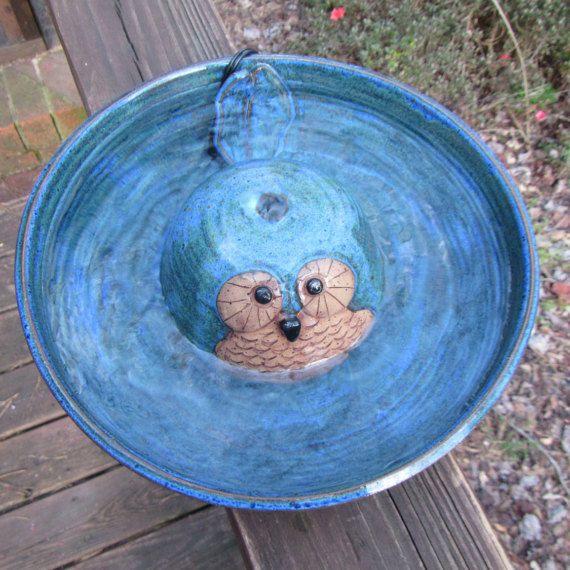 Fontaine d'eau potable chat en céramique couverte par WheezieWorks