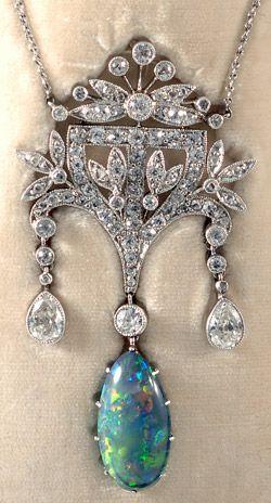 Stunning platinum set fine quality Edwardian diamond and black opal boxed pendant 1910c