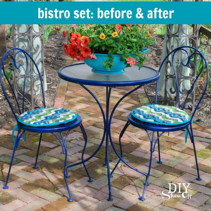 Outdoor Bistro Set Before and After   Living the Country Life   Pinterest   Bistro  set, Outdoor and Decor - Outdoor Bistro Set Before And After Living The Country Life