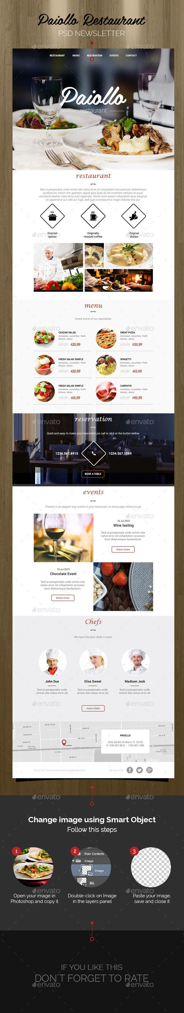 Paiollo Restaurant - Newsletter Template PSD - E-newsletters Web Elements