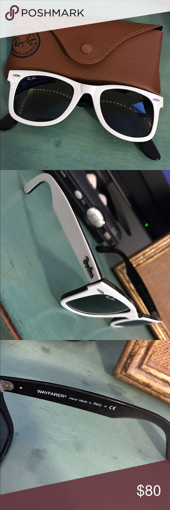 White Ray-Ban Wayfarer Sunglasses Comes with case! Lightly used but great condition! Accessories Sunglasses