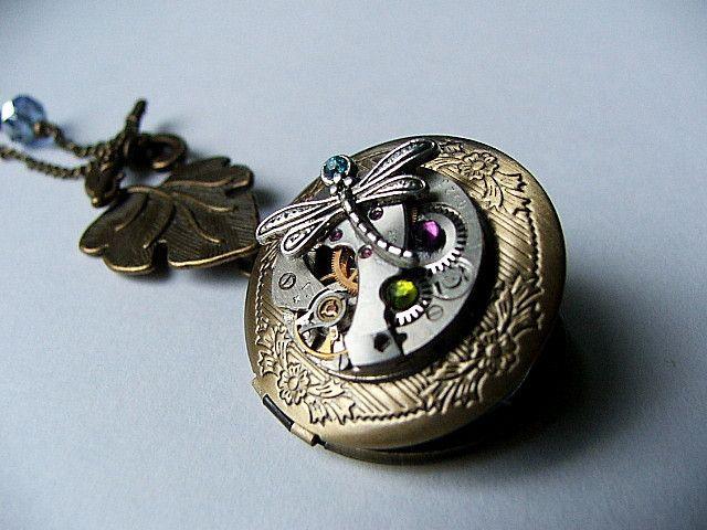 sekretnik zegar mechanizm rubiny cyrkonie wisior  - nailart2010 - Biżuteria tematyczna