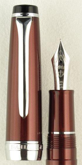 Sailor Sapporo Pearl Red Special Edition with 14k Saibi Togi Nib. Metallic crimson finish and rhodium trim.