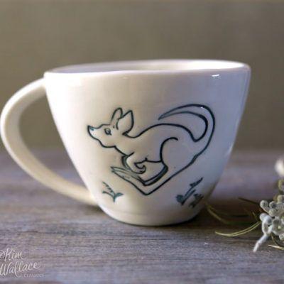 Bush Prints Collection ~ cup ~ little roo    A collaboration between artist Renée Treml and Kim Wallace Ceramics ~ Handmade Australian Ceramics