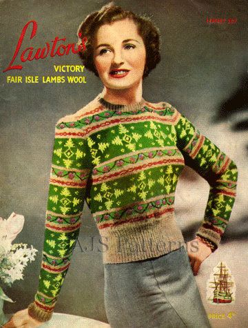 PDF Knitting pattern for a Beautiful Ladies Fair Isle Jumper with a Stunning ...