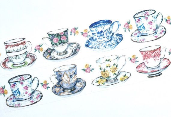 Elegant tea cups washi tape T00351 by Meowashitape on Etsy