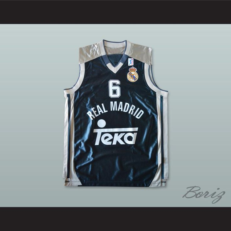 """Sasha Djordjevic 6 Real Madrid Dark Blue Basketball Jersey. STITCH SEWN GRAPHICS  CUSTOM BACK NAME CUSTOM BACK NUMBER ALL SIZES AVAILABLE SHIPPING TIME 3-5 WEEKS WITH ONLINE TRACKING NUMBER Be sure to compare your measurements with a jersey that already fits you. Please consider ordering a larger size, if you prefer a loose fit. HOW TO CALCULATE CHEST SIZE: Width of your Chest plus Width of your Back plus 4 to 6 inches to account for space for a loose fit. Example: 18"""" wide chest plus 18""""…"""