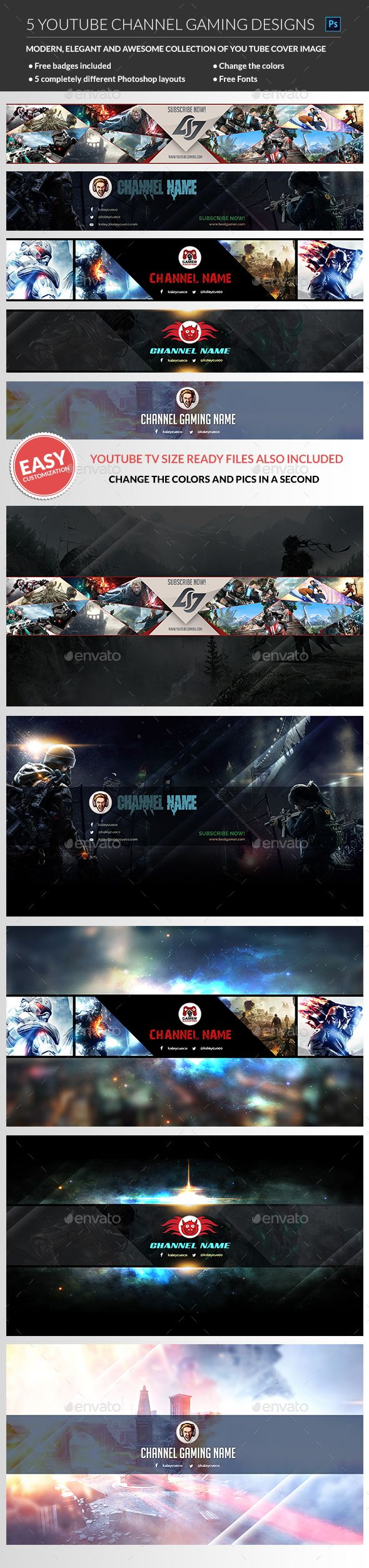 #Gaming YouTube Channel banner - #YouTube #Social Media Download here:  https://graphicriver.net/item/gaming-youtube-channel-banner/19221611?ref=alena994