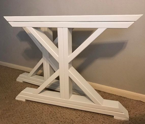 These unique table legs can be built to fit any size table. Set includes two X-frame legs, braces, and bolts and screws if needed. Finish options: Dark Walnut Painted White Antiqued White Painted Black Unfinished  For thicker legs, see our other listing here - https://www.etsy.com/listing/492356033/farmhouse-trestle-table-legs-x-frame  *Additional shipping charges may apply to orders wider than 32 to adjust for USPS oversized package rates.  **Local pickup is availabl...
