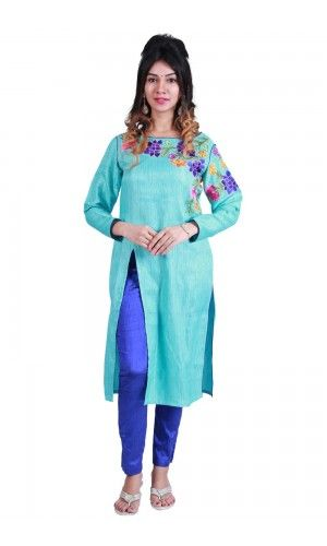 Featuring a  sky blue kurta in Chennai silk base with zari and thread embroidery along the neck and sleeves