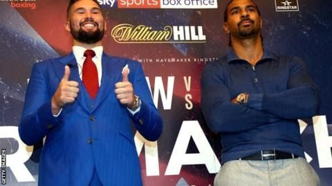 """Tony Bellew (left) and David Haye (right) will fight again at London's O2 arena on 17 December  David Haye has compared Tony Bellew's win over him in March to """"robbing a bank"""" and predicted a revenge victory in December.  The heavyweight pair have agreed a rematch after Bellew won their original fight with an 11th-round stoppage. Haye 36 said Bellew's triumph was akin to him securing his family by stealing a fortune. But Bellew said: """"I didn't rob a bank - I got in the boxing ring and…"""