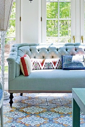 Sofa: Dining Room, Blue Sofa Living Room, Blue Interiors, Velvet Sofa, Tufted Sofa, Blue Sofas, Blue Couch Living Room