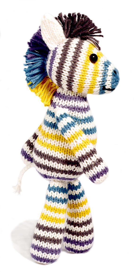 The pattern includes instructions for 4 animals: an elephant, a lion, a zebra, and a rhinoceros. The toys can be knit from a single type of yarn, or from multiple yarns like my Scraps Chaps pattern. The can also be knit from worsted or chunky weight yarn, in order to achieve the two