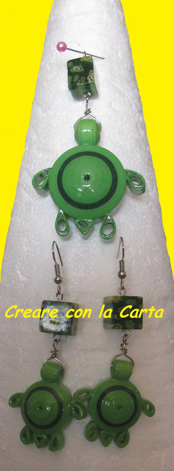 orecchini a quilling con ciondolo per collana pietra in vetro #quilling #creareconlacarta #carta #handemade