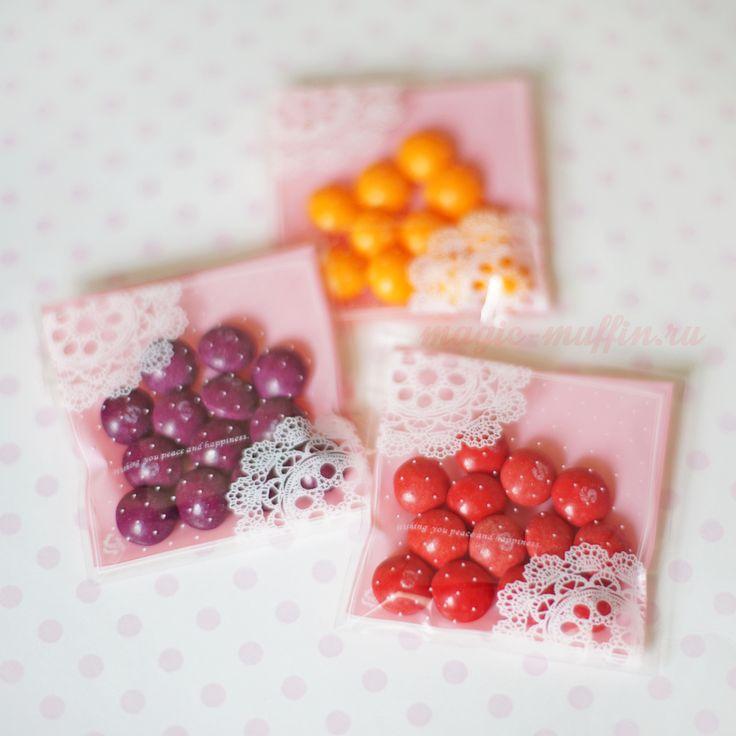 Мини-пакетики с клапаном: розовый с белым кружевом, 10 штук