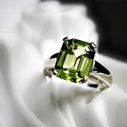 $1050.00 from www.etsy.com  Emerald Cut Peridot Ring