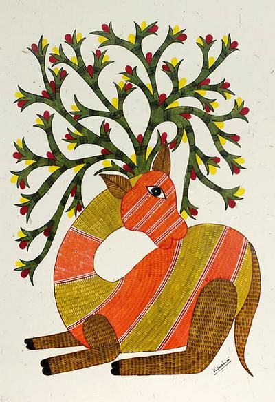 Gond painting, 'Lonely Deer' by NOVICA