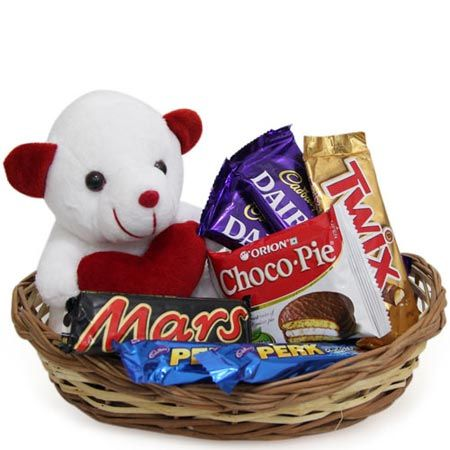 Soft Toys and Chocolates in Basket - Rakhi Gifts for Sister